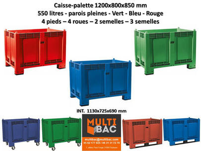 Caisse Palette 1200x800x850 Mm Couleur Vert Bleu Rouge Caisse