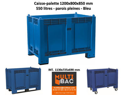 Caisse Palette 1200x800x850 Mm Sur 4 Pieds De Couleur Bleu Caisse